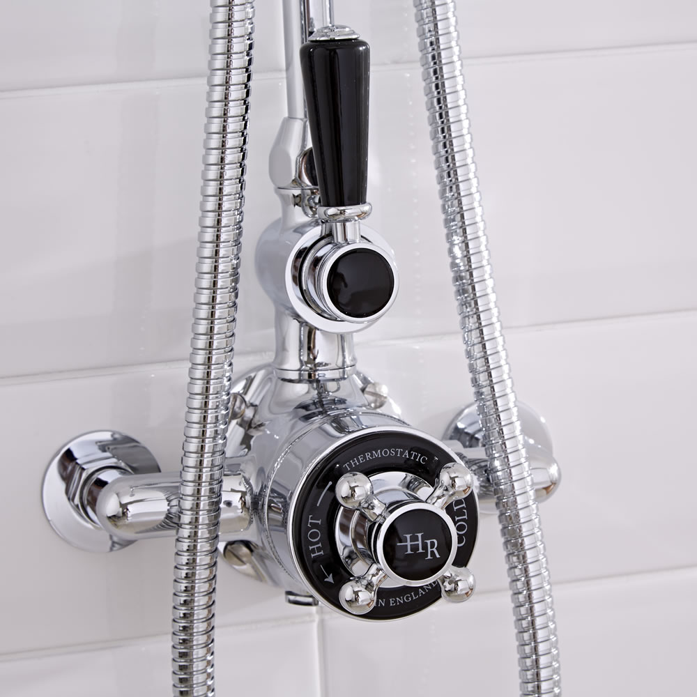 Hudson Reed Topaz - Traditional Twin Exposed Shower Valve - Chrome and Black
