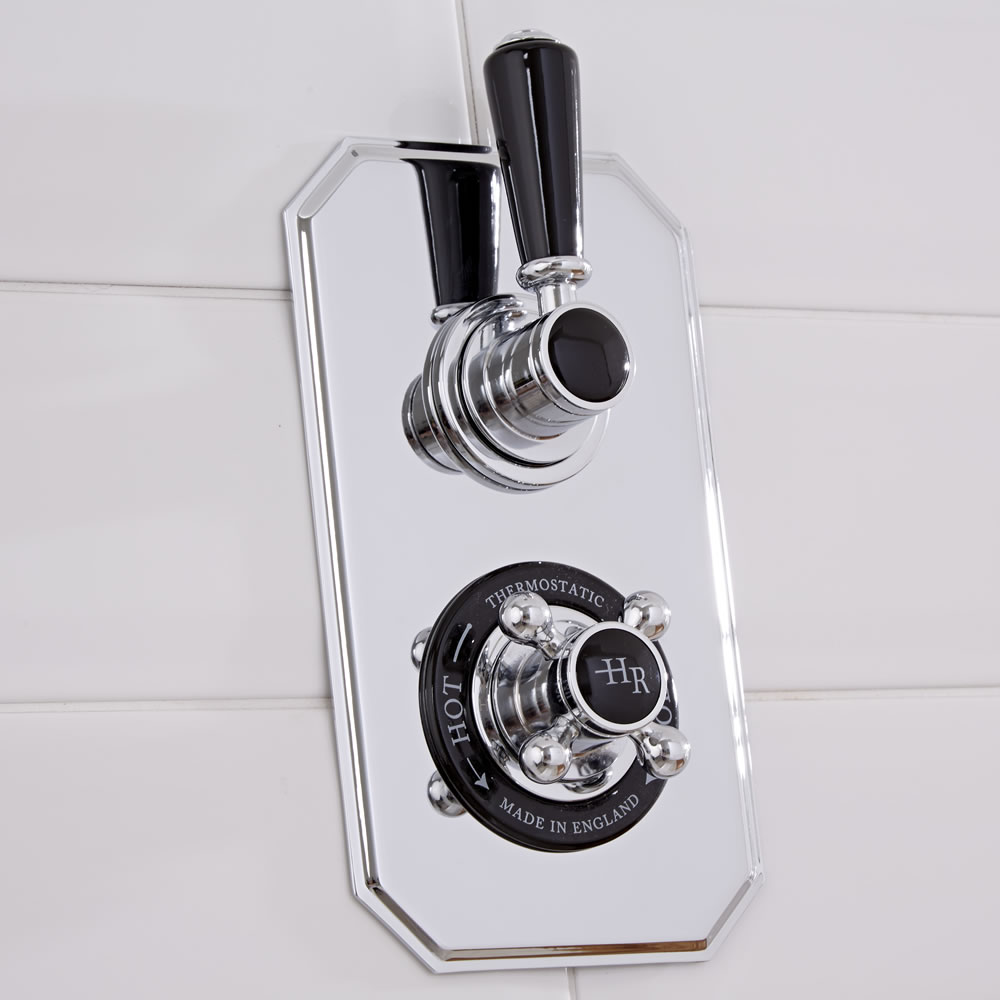 Hudson Reed Topaz - Traditional Twin Concealed Shower Valve - Chrome and Black