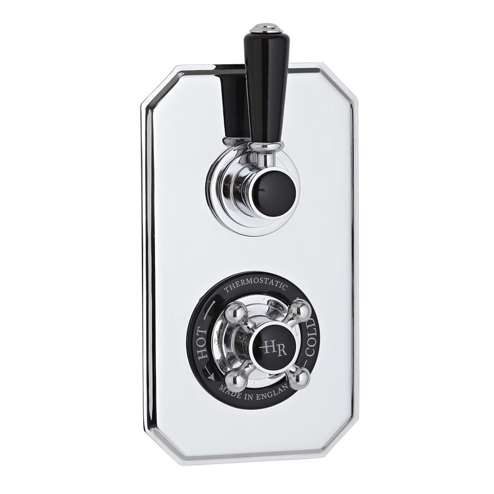 Hudson Reed Twin Concealed Traditional Diverter Shower Valve - Chrome/Black