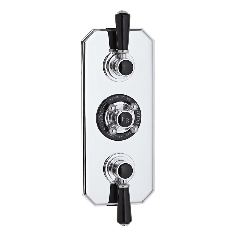 Hudson Reed Triple Concealed Traditional Diverter Shower Valve - Chrome/Black