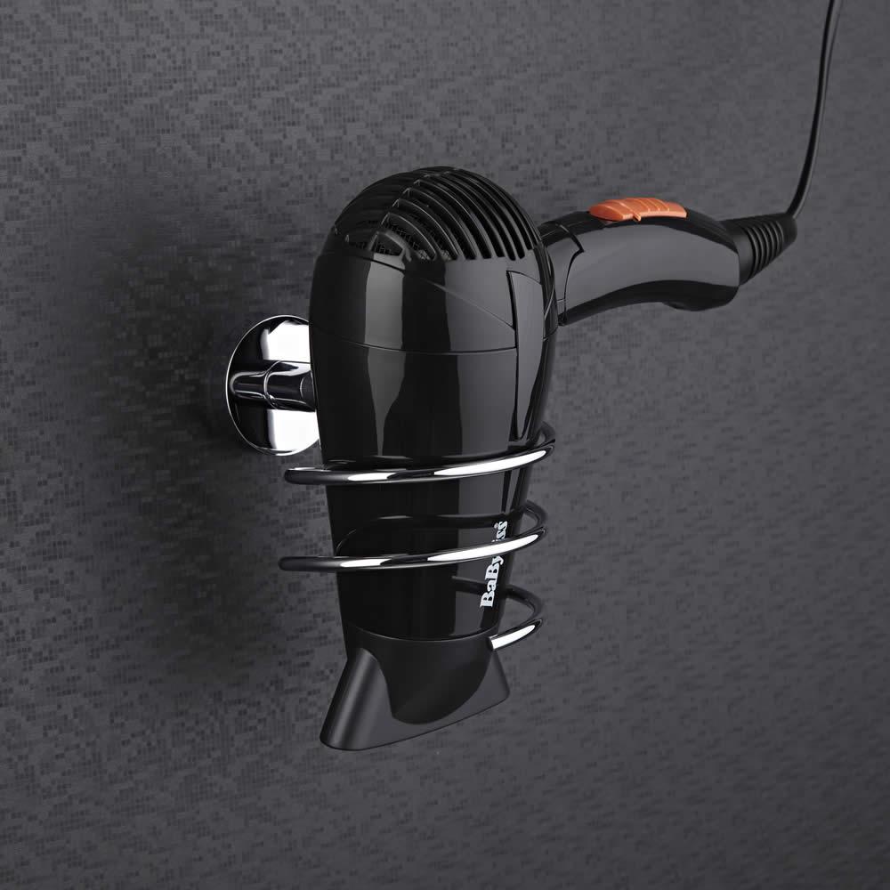 Milano - Modern Chrome Hair Dryer Holder