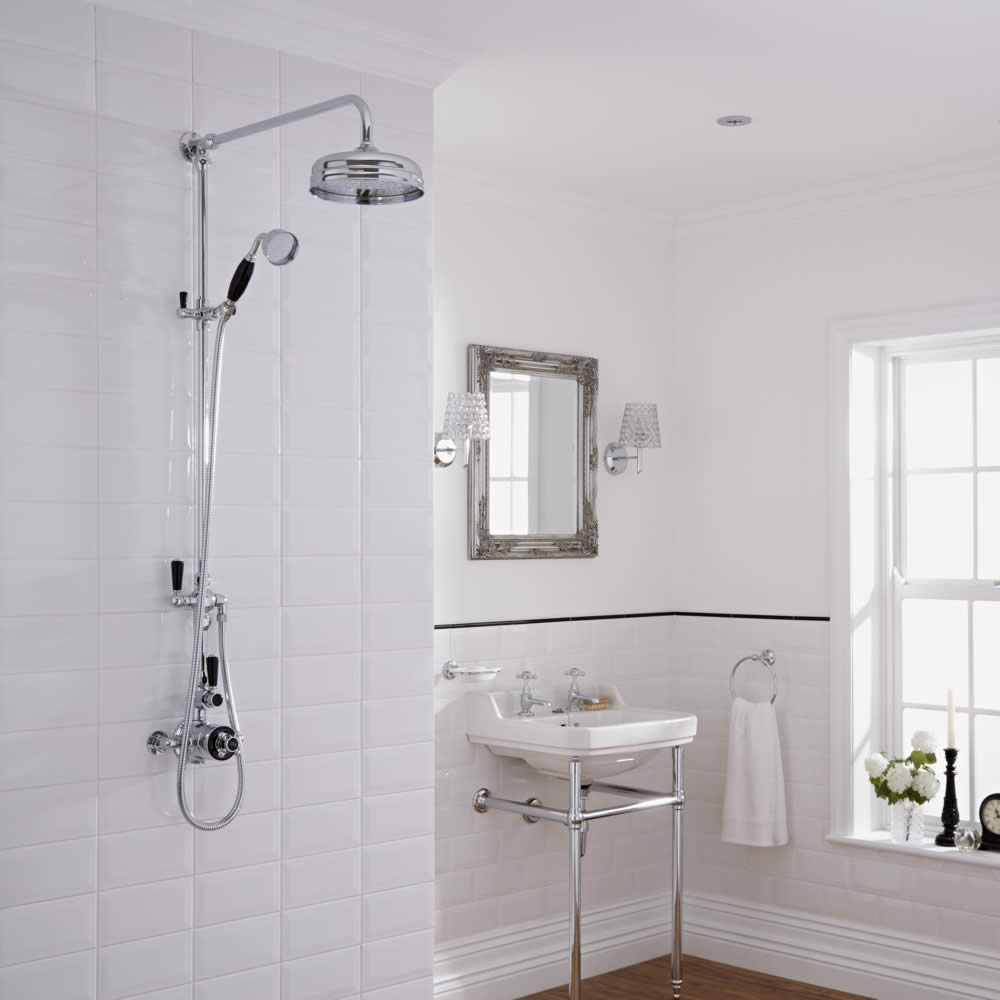 Milano Elizabeth - Traditional Rigid Riser Hand Shower Kit with Shower Head and Twin Exposed Thermostatic Shower Valve