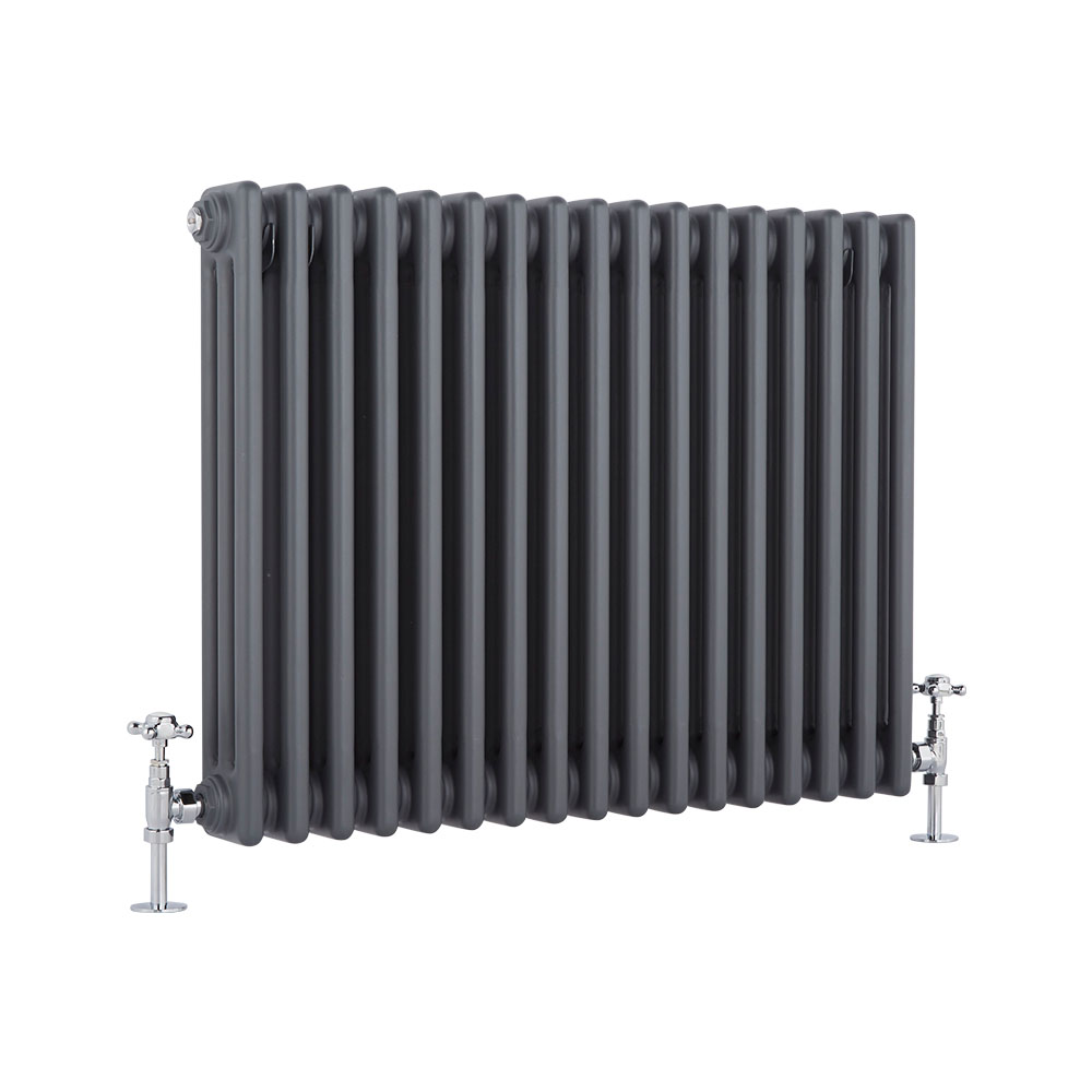 Milano Windsor - Traditional Anthracite Horizontal Column Radiator - 600mm x 765mm (Triple Column)