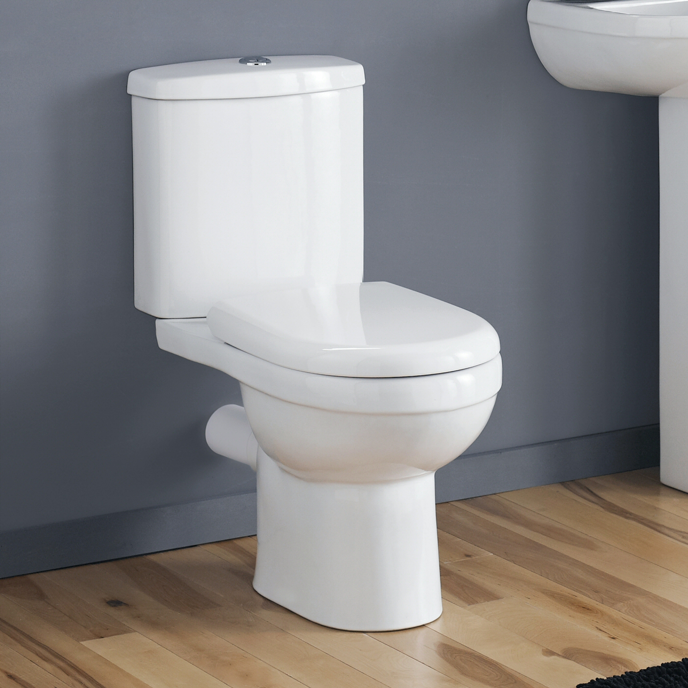 Milano Newby - White Modern Close Coupled Toilet with Cistern and Soft Close Seat - 780mm x 375mm