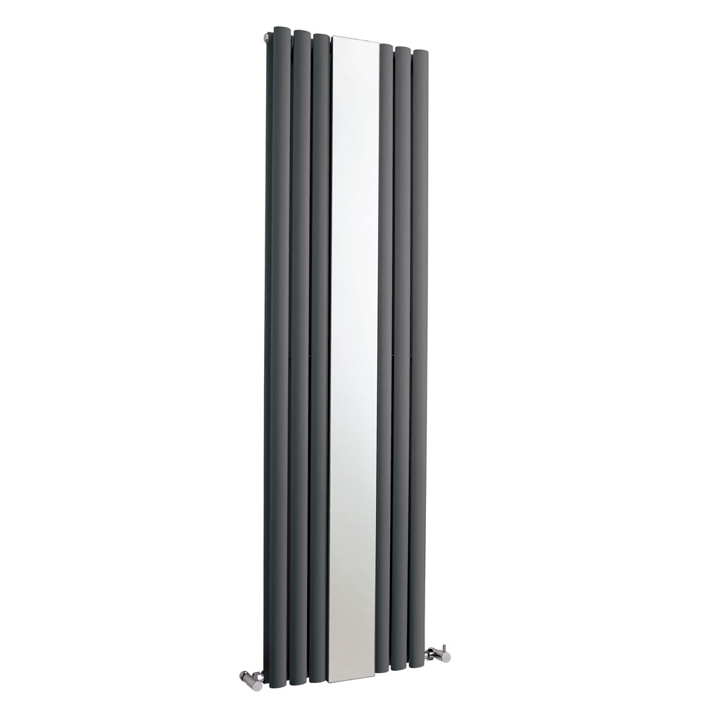 Hudson Reed Revive - Anthracite Double Panel Designer Radiator with Mirror 1800mm x 499mm