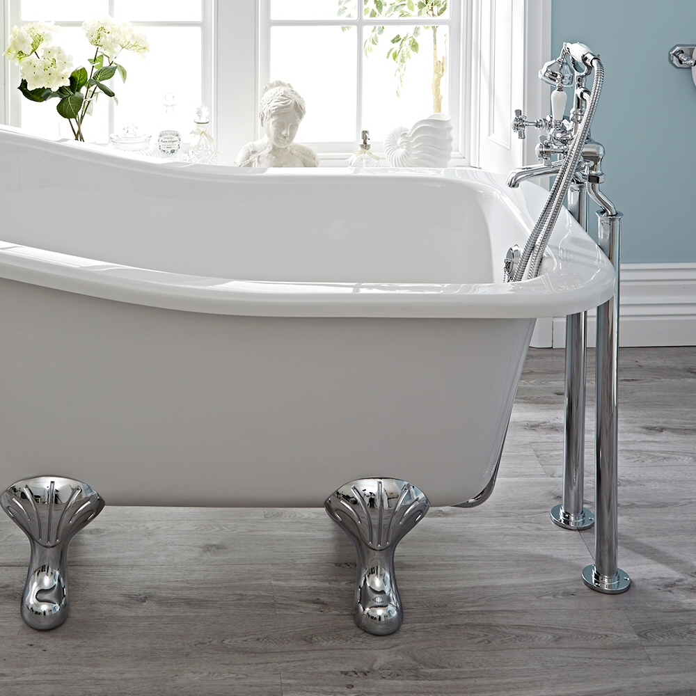 Hudson Reed Elizabeth - Traditional Crosshead Floor Standing Bath Shower Mixer Tap including Hand Shower - Chrome and White
