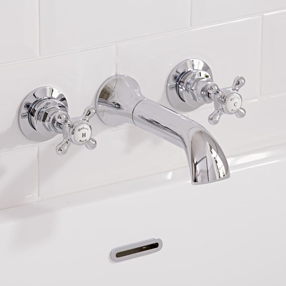 Hudson Reed Elizabeth - Traditional Crosshead Wall Mounted Bath Filler Taps - Chrome and White