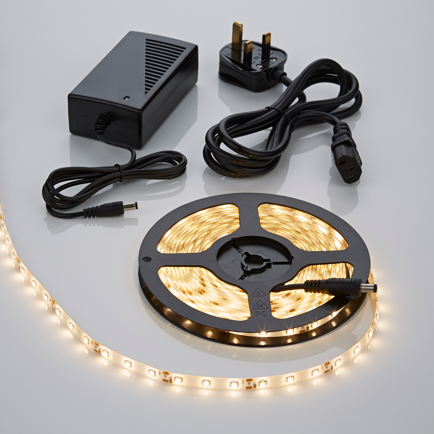 Biard 5 Metre 3528 Warm White Waterproof LED Strip Light Kit with Power Supply - 300 LEDs