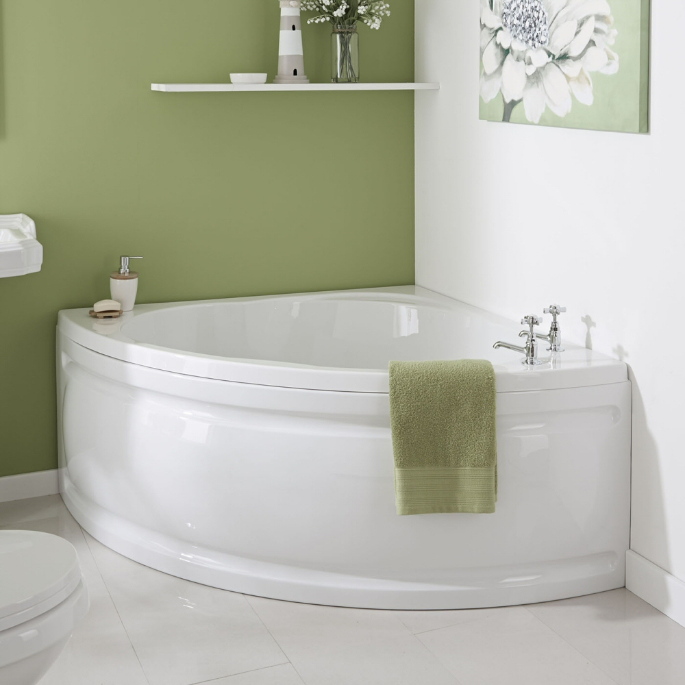 Milano Newby - White Modern Reversible Corner Bath with Panel - 1350mm x 1350mm