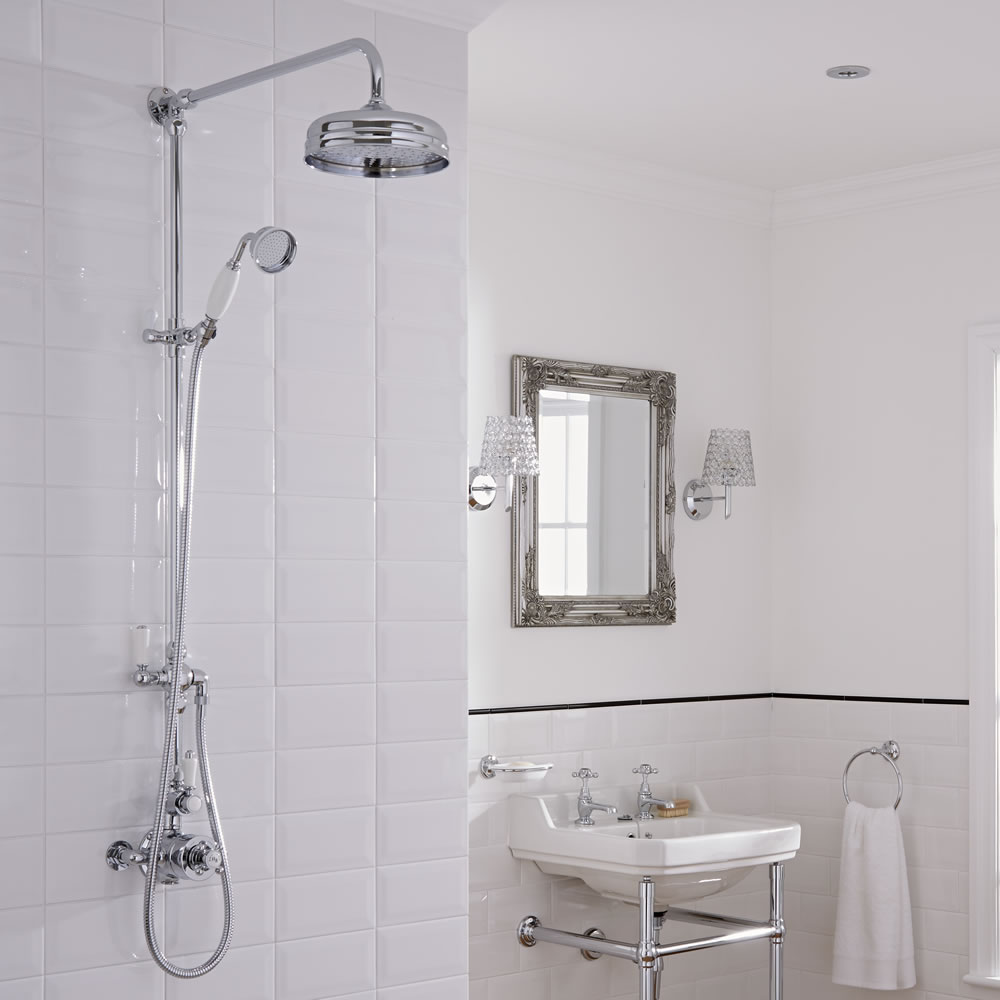 Milano Elizabeth - Traditional Hand Shower Rail with Shower Head, Hand Shower and Twin Exposed Thermostatic Shower Valve