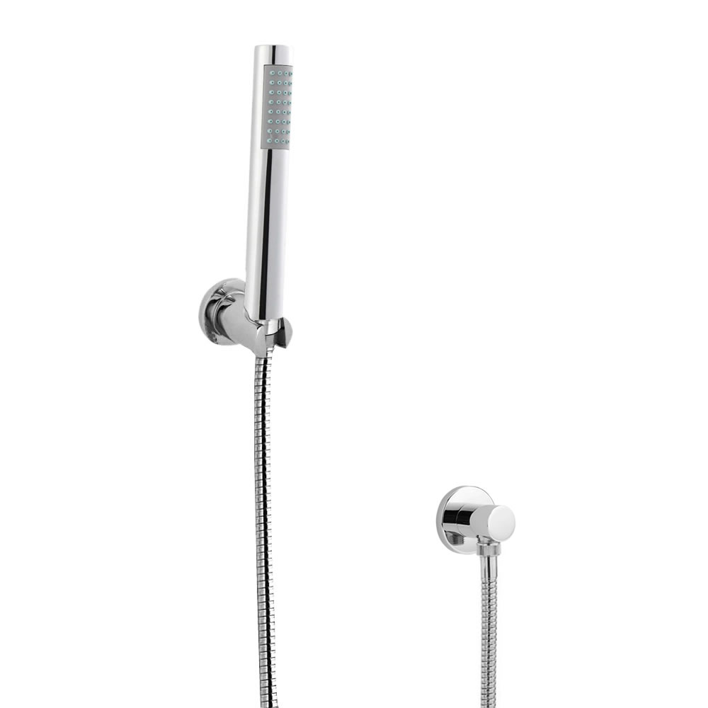 Milano - Modern Round Hand Shower with Wall Bracket and Outlet Elbow - Chrome