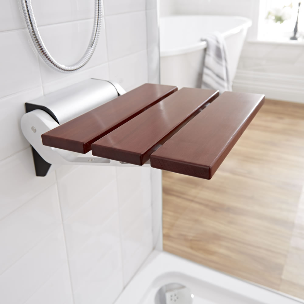 Milano Sapele Folding Wooden Shower Seat