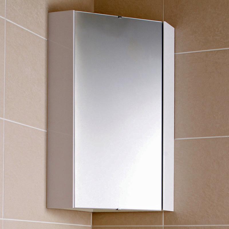 Milano Design - White Modern Bathroom Mirror Corner Cabinet - 556mm x 459mm