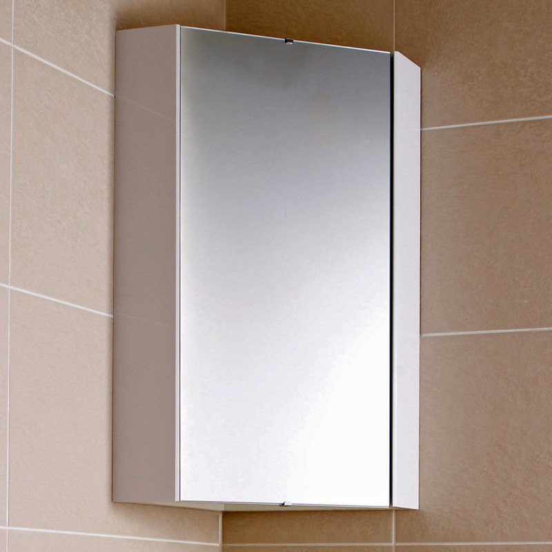 Milano Lurus - White Modern Bathroom Mirrored Corner Cabinet - 650mm x 459mm