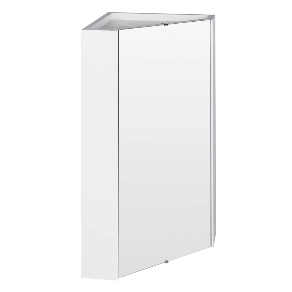 Ultra Design White Gloss Corner Mirror Cabinet