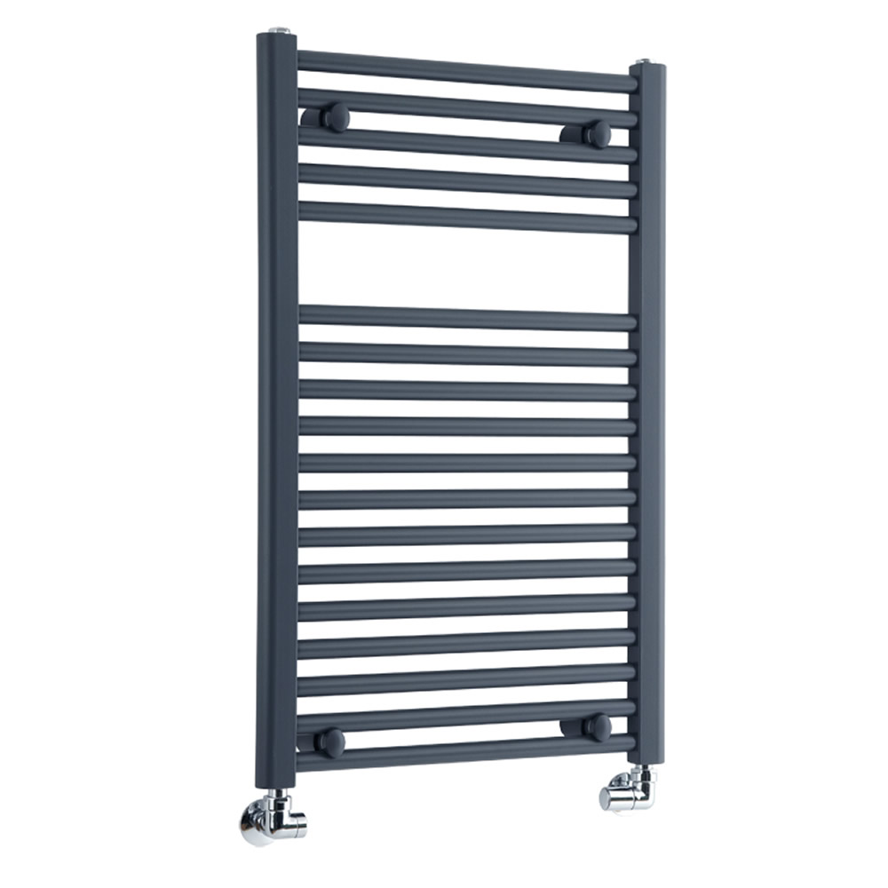 Milano Brook - Anthracite Flat Bathroom Heated Towel Radiator Rail 800mm x 500mm
