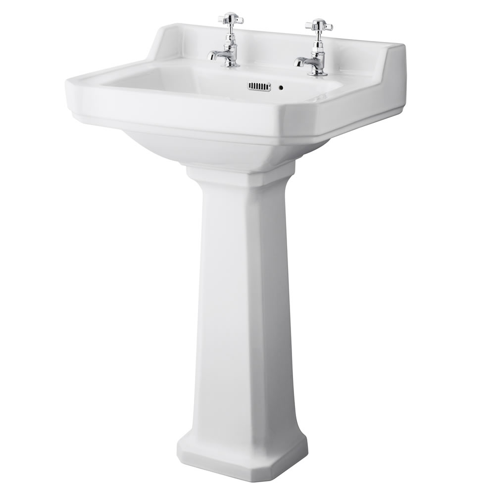 Premier Carlton - 560mm Basin with Full Pedestal - 2 Tap-Holes