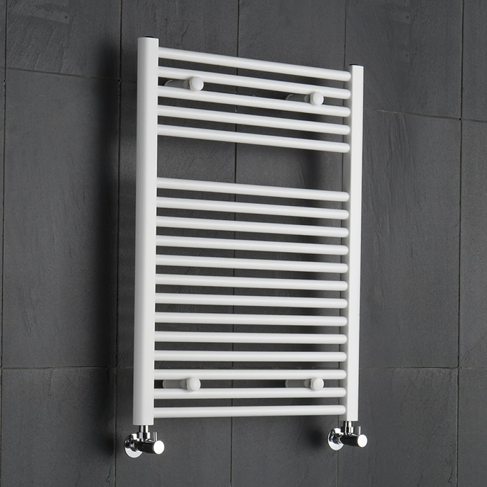 Sterling - White Flat Heated Towel Rail - 800mm x 600mm
