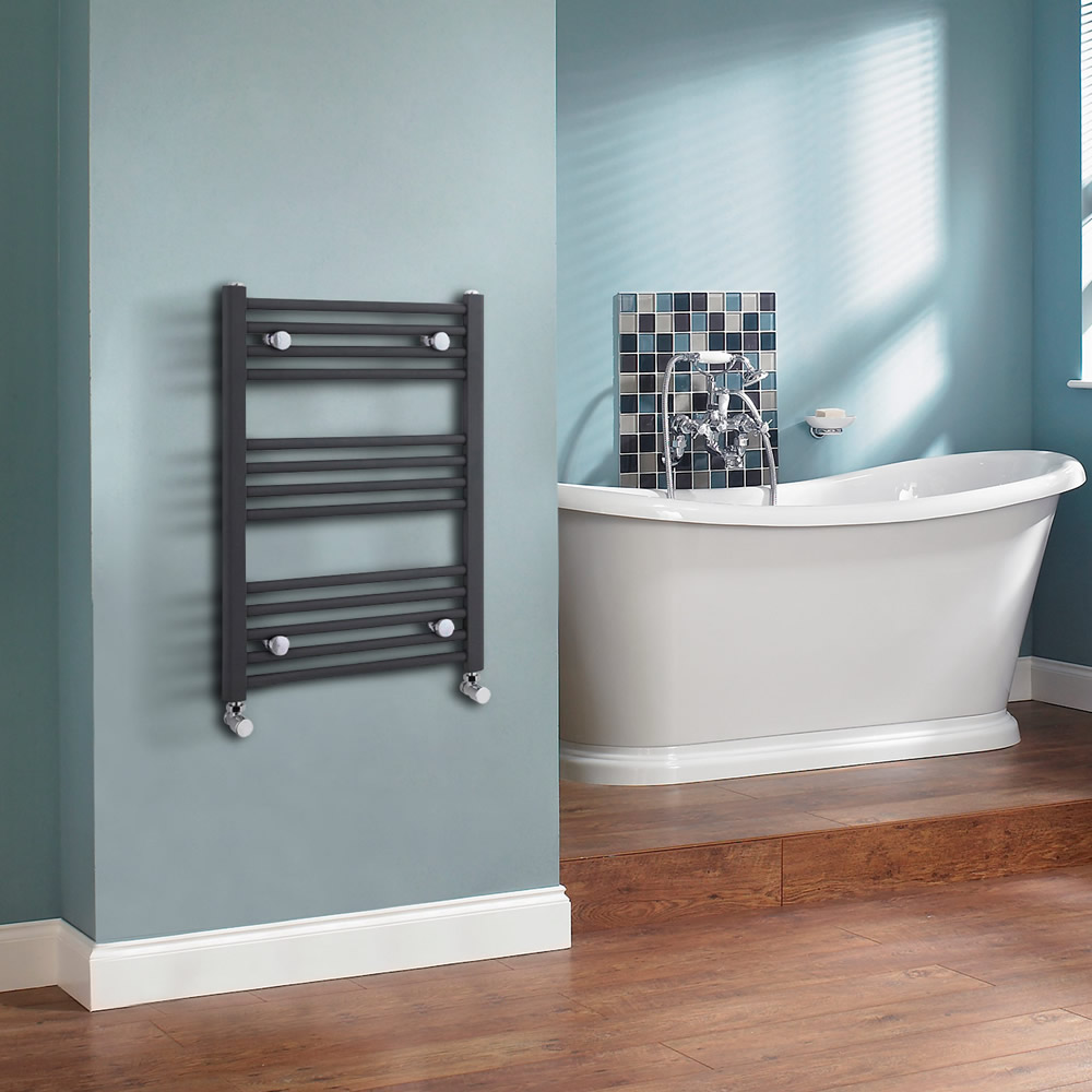 Sterling - Anthracite Straight Heated Towel Rail 500mm x 700mm