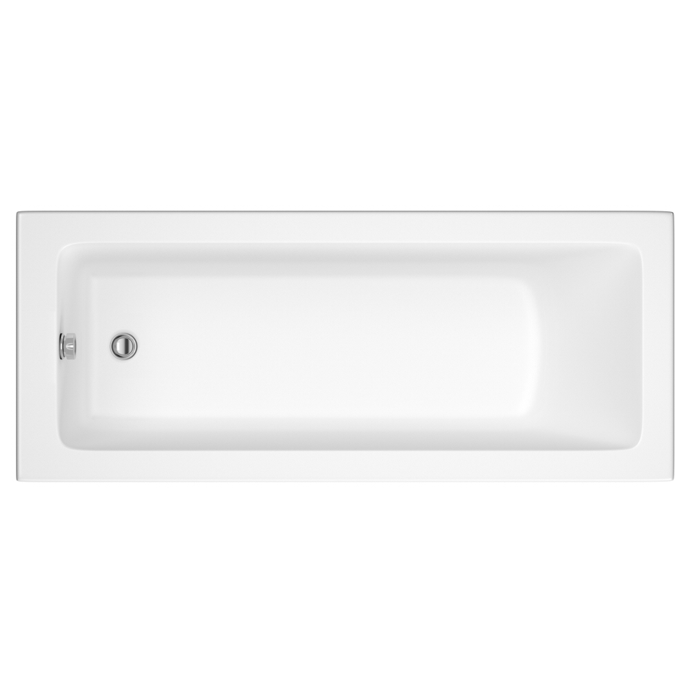 Milano Ice - White Modern Single Ended Standard Bath - 1800mm x 800mm (No Tap-Holes)