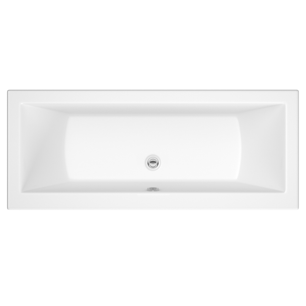 Milano Channel - White Modern Double-Ended Standard Bath - 1700mm x 750mm (No Tap-Holes)