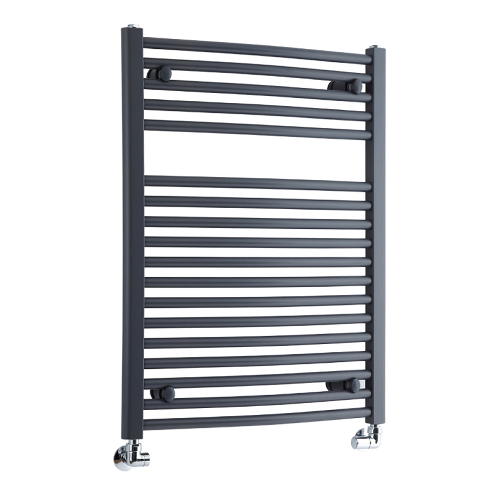 Milano Brook - Anthracite Curved Heated Bathroom Towel Radiator Rail 800mm x 600mm