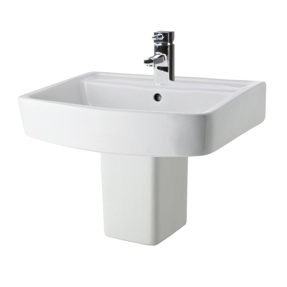 Milano Farington - 520mm Basin with Semi Pedestal - 1 Tap-Hole
