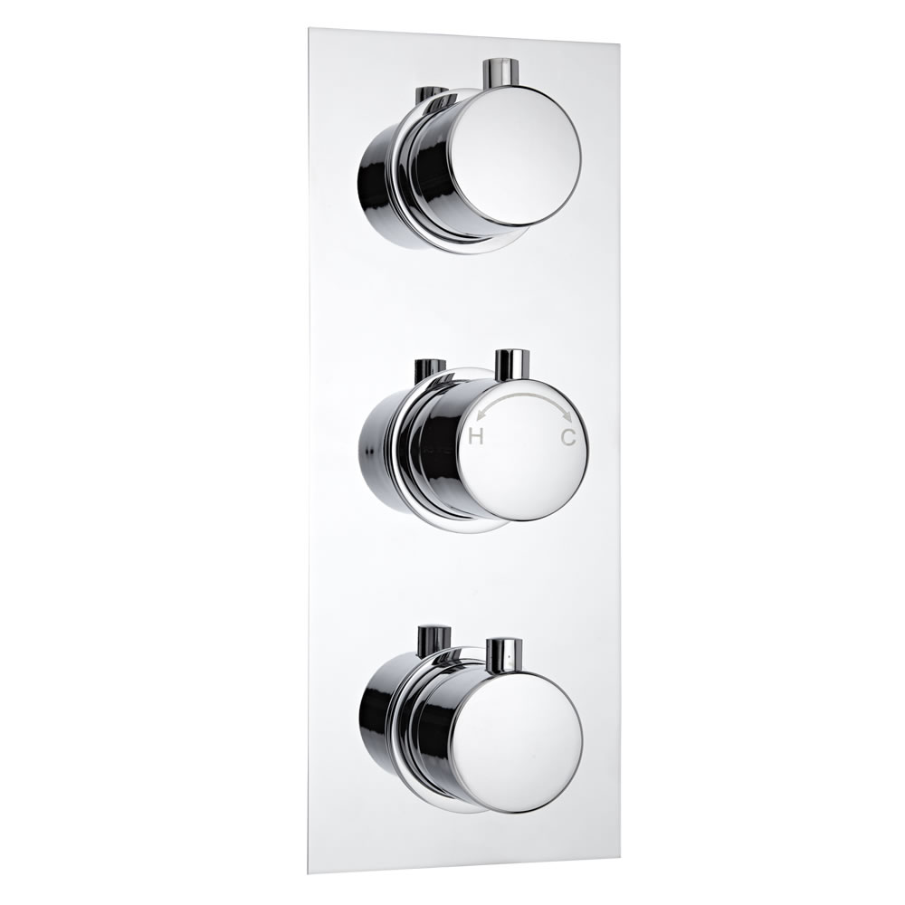 Milano Concealed Thermostatic Triple Valve with Diverter, Rectangular Plate and Round Handles