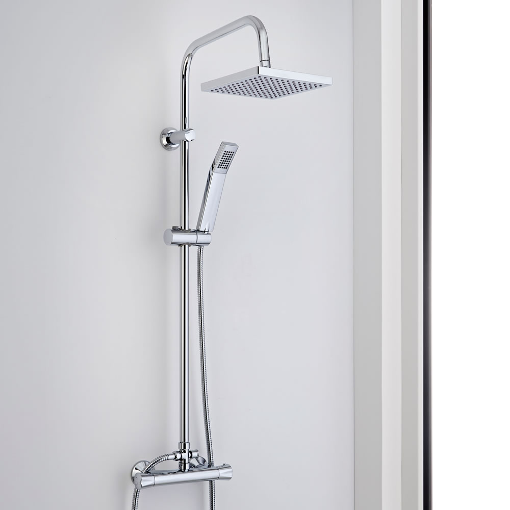 Milano Select - Modern 2 Outlet Thermostatic Shower Set with Bar Valve and Square Shower Head - Chrome