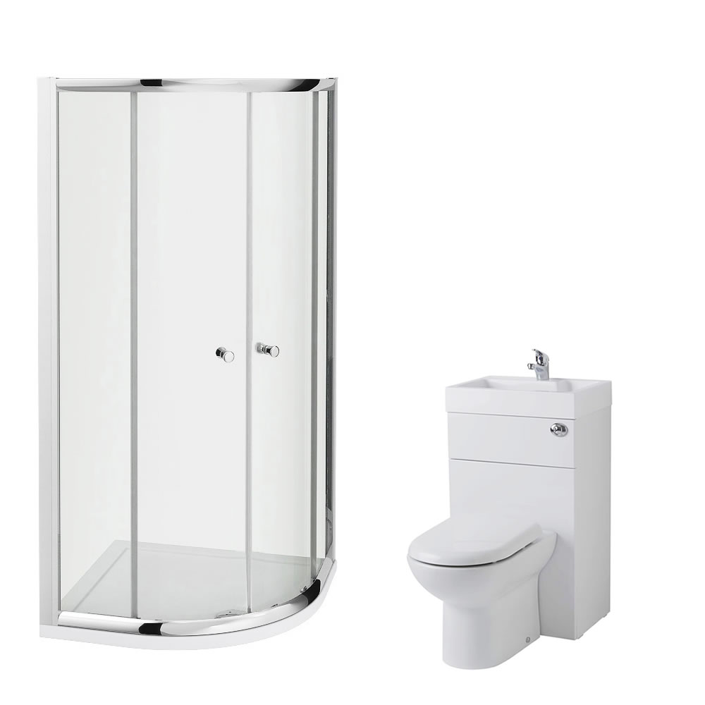 Milano 800mm Quadrant En Suite Set With Combination Toilet & Basin Unit & Tap & Waste