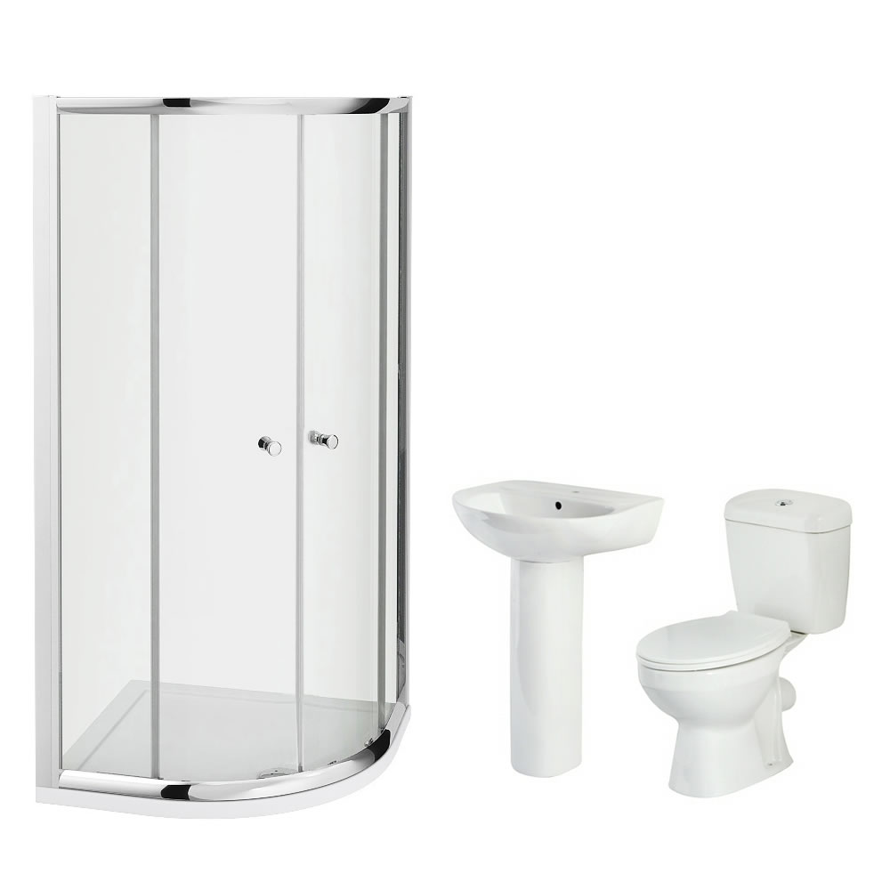 Milano 900mm Melbourne Quadrant En Suite Bathroom Set With Tap & Waste