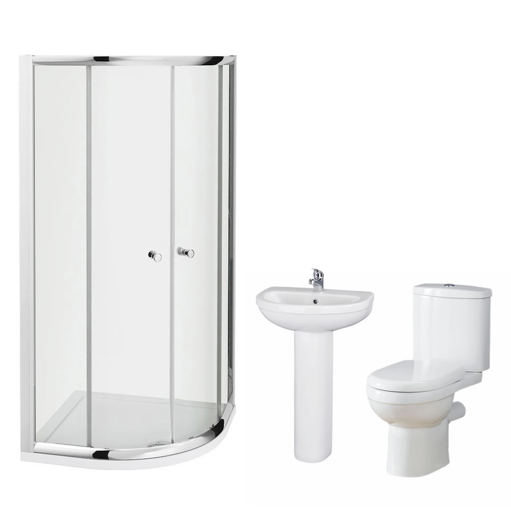 Milano 900mm Ivo Quadrant En Suite Bathroom Set With Tap & Waste
