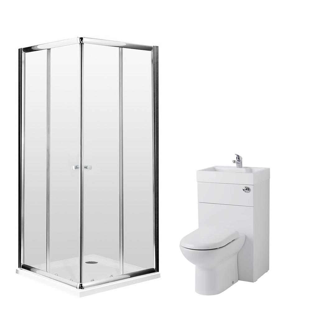 Milano 900mm Corner Entry En Suite Set With Combination Toilet & Basin Unit & Tap & Waste