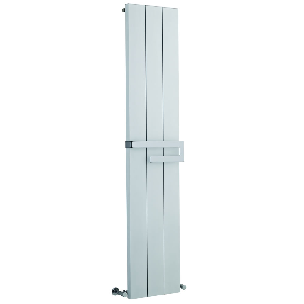 Hudson Reed Ceylon - White Super-Flat Vertical Designer Radiator with Towel Rail 1800mm x 370mm