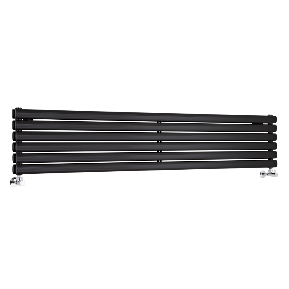 Milano Aruba - Luxury High Gloss Black Horizontal Designer Double Radiator 354mm x 1780mm