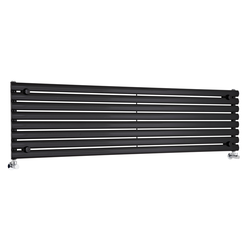 Milano Aruba - Luxury High Gloss Black Horizontal Designer Radiator 472mm x 1780mm