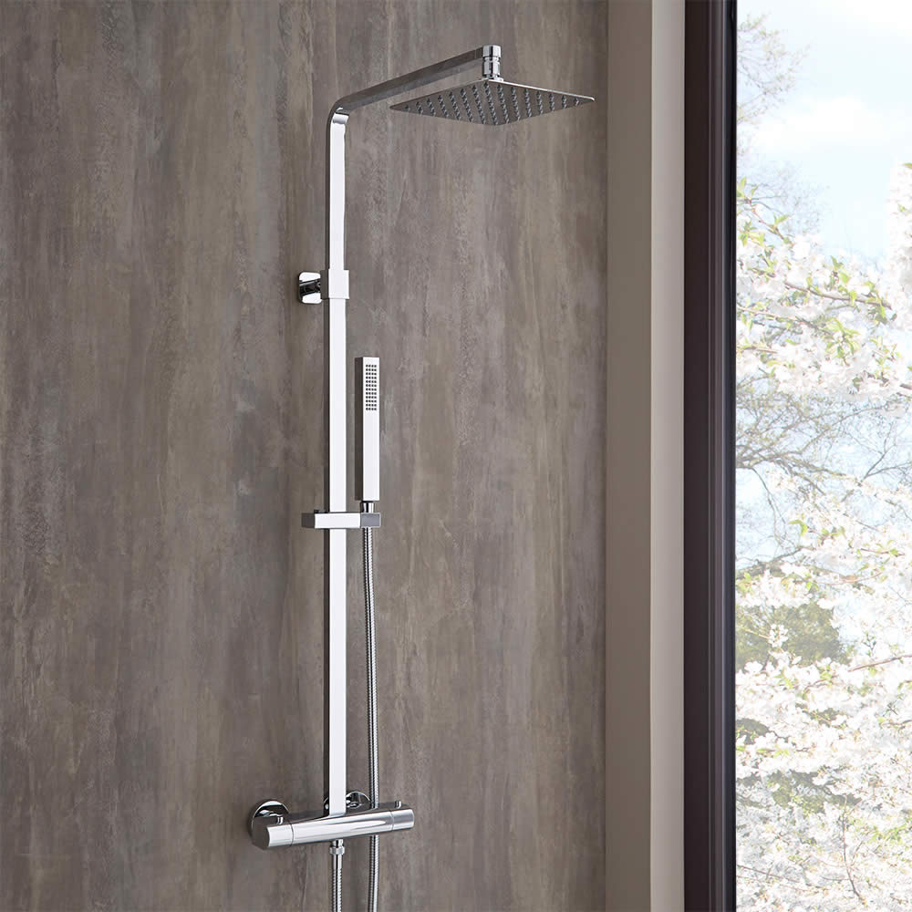 Milano Arvo - Modern Square Rigid Riser Shower Kit with Thermostatic Bar Shower Valve - Chrome