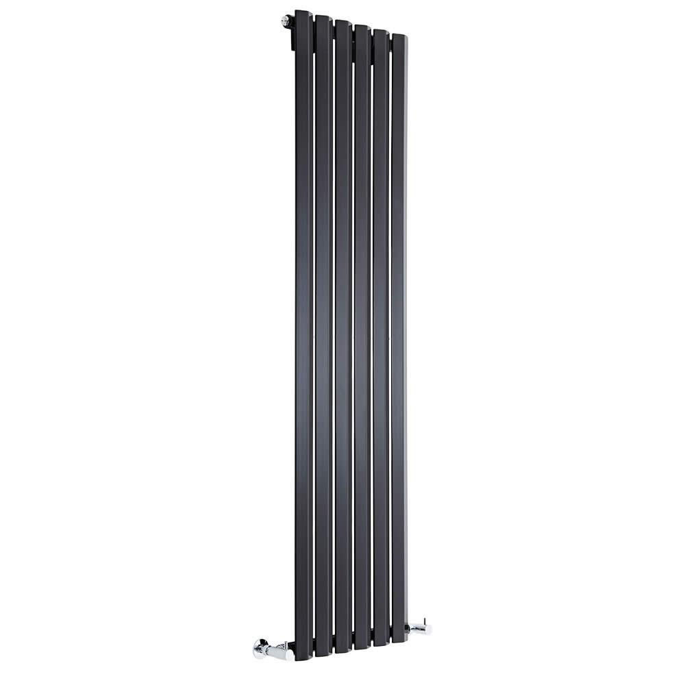 Viti - Gloss Black Vertical Diamond Panel Designer Radiator 1600mm x 420mm