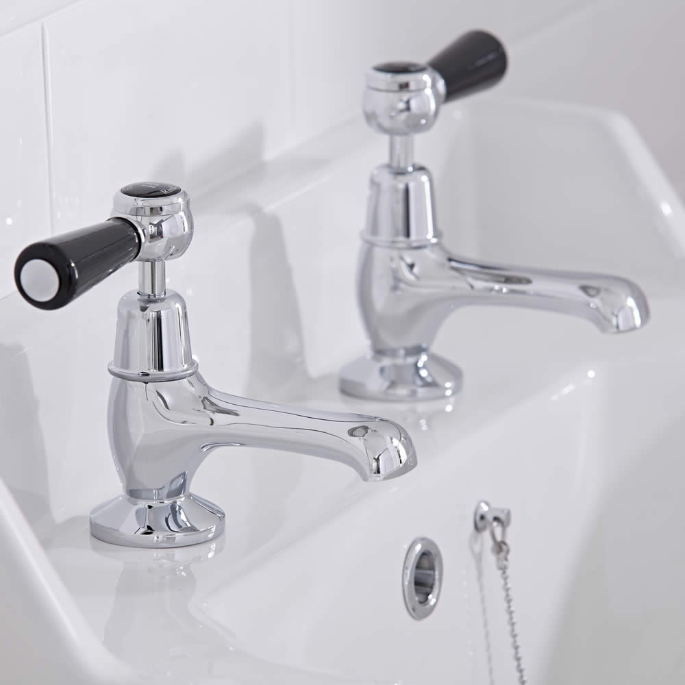 Hudson Reed Elizabeth - Traditional Lever Head Deck Mounted Basin Pillar Taps - Chrome and Black