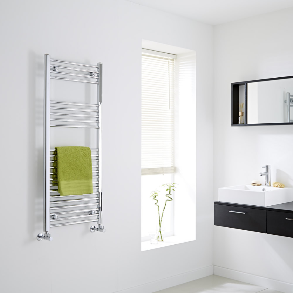 Milano Flat Chrome Heated Towel Rail 1200mm x 500mm