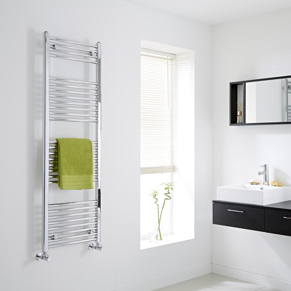 Milano Flat Chrome Heated Towel Rail 1500mm x 500mm