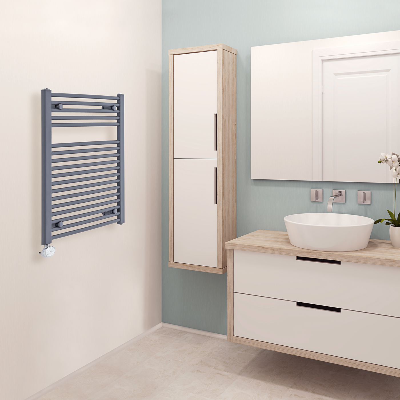 Milano Brook Electric - Anthracite Curved Heated Towel Rail - 800mm x 500mm