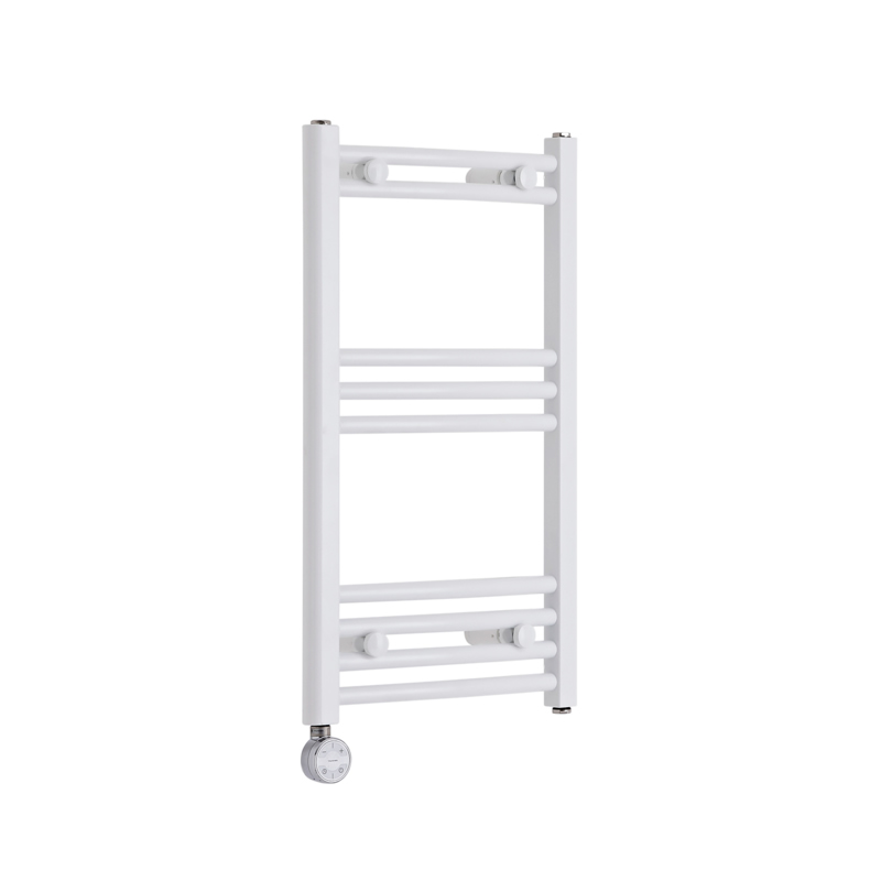 Milano Calder Electric - Curved White Heated Towel Rail 700mm x 400mm