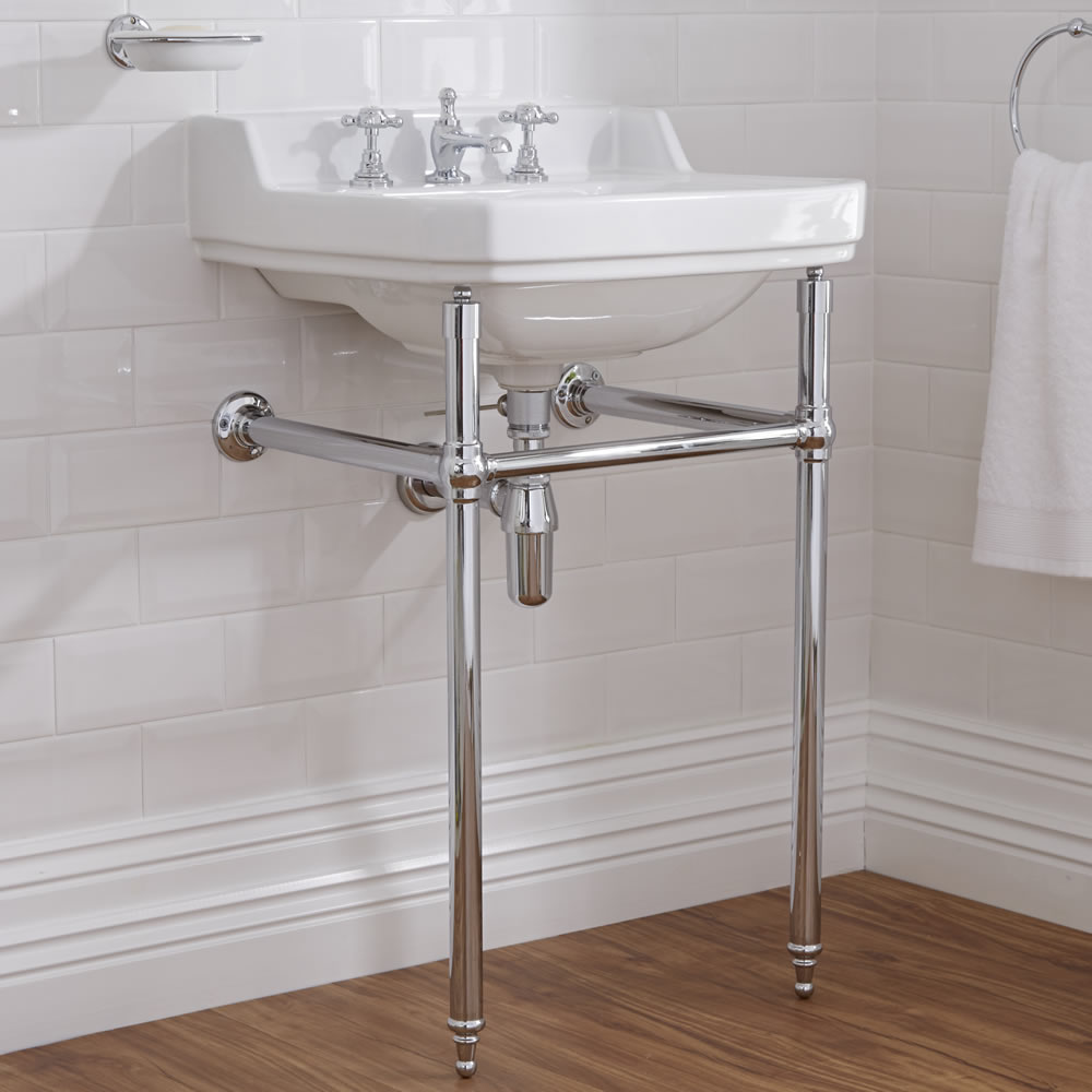 Milano Carlton - White Traditional Square Basin and Washstand - 560mm x 450mm (3 Tap-Holes)