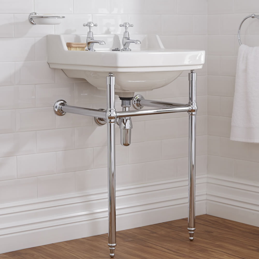 Milano Carlton - White Traditional Square Basin and Washstand - 500mm x 350mm (2 Tap-Holes)
