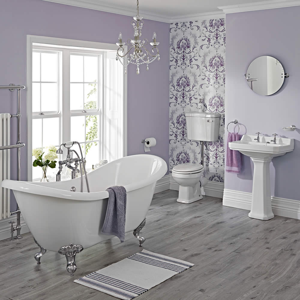Milano Traditional Freestanding Double Ended Slipper Bath Suite, Low Level WC inc Brassware