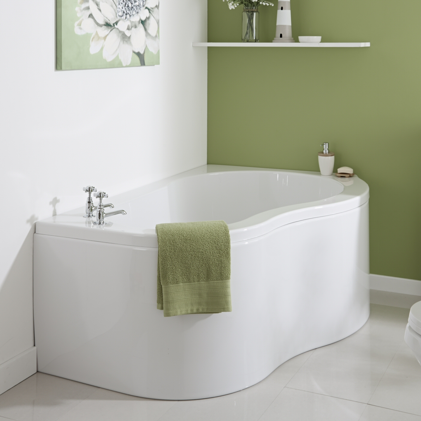 Milano Nuvo 1500 x 1000mm Corner Bath & Panel RH