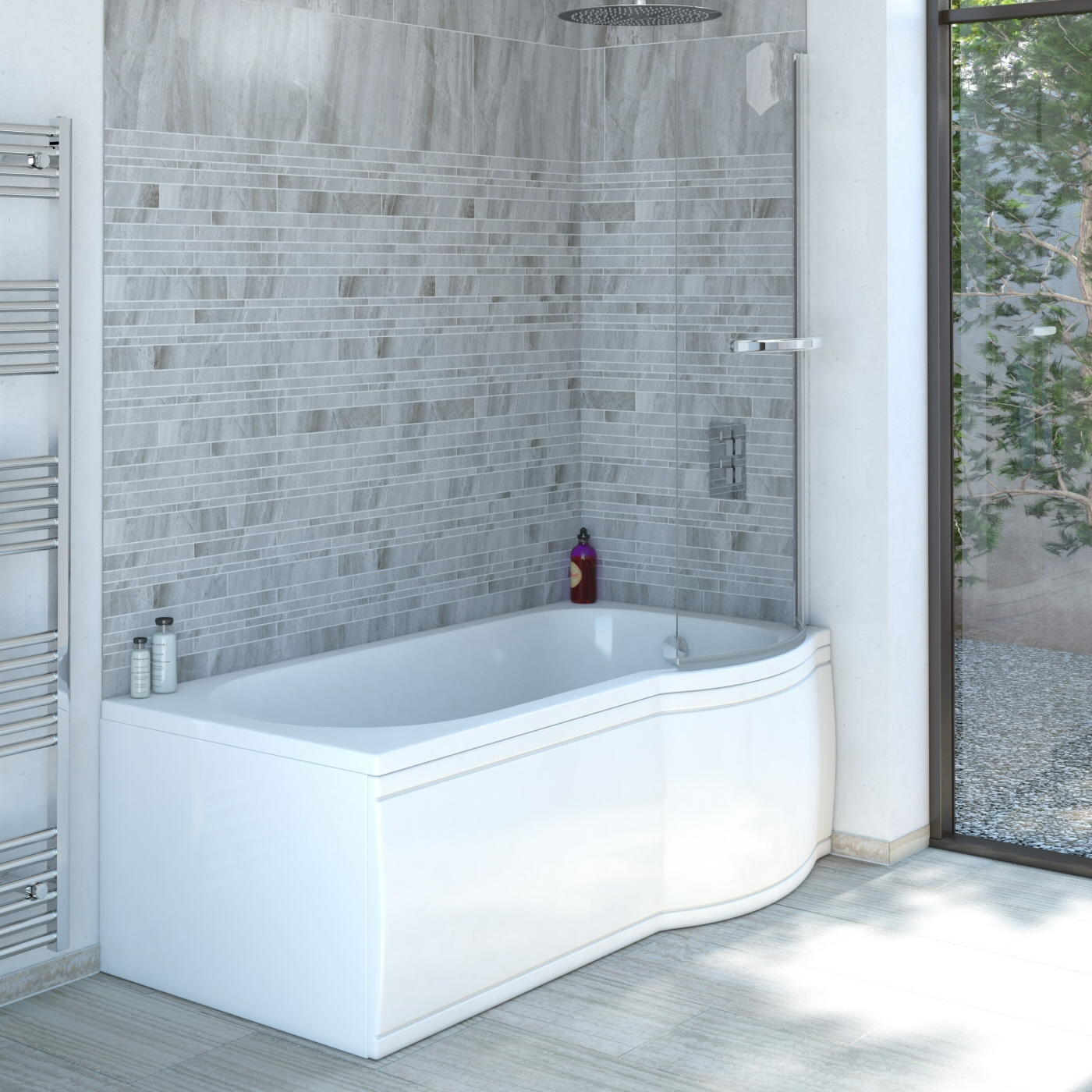 Milano Concept - 1675 x 850mm P Shape Shower Bath with Panels - Right Hand