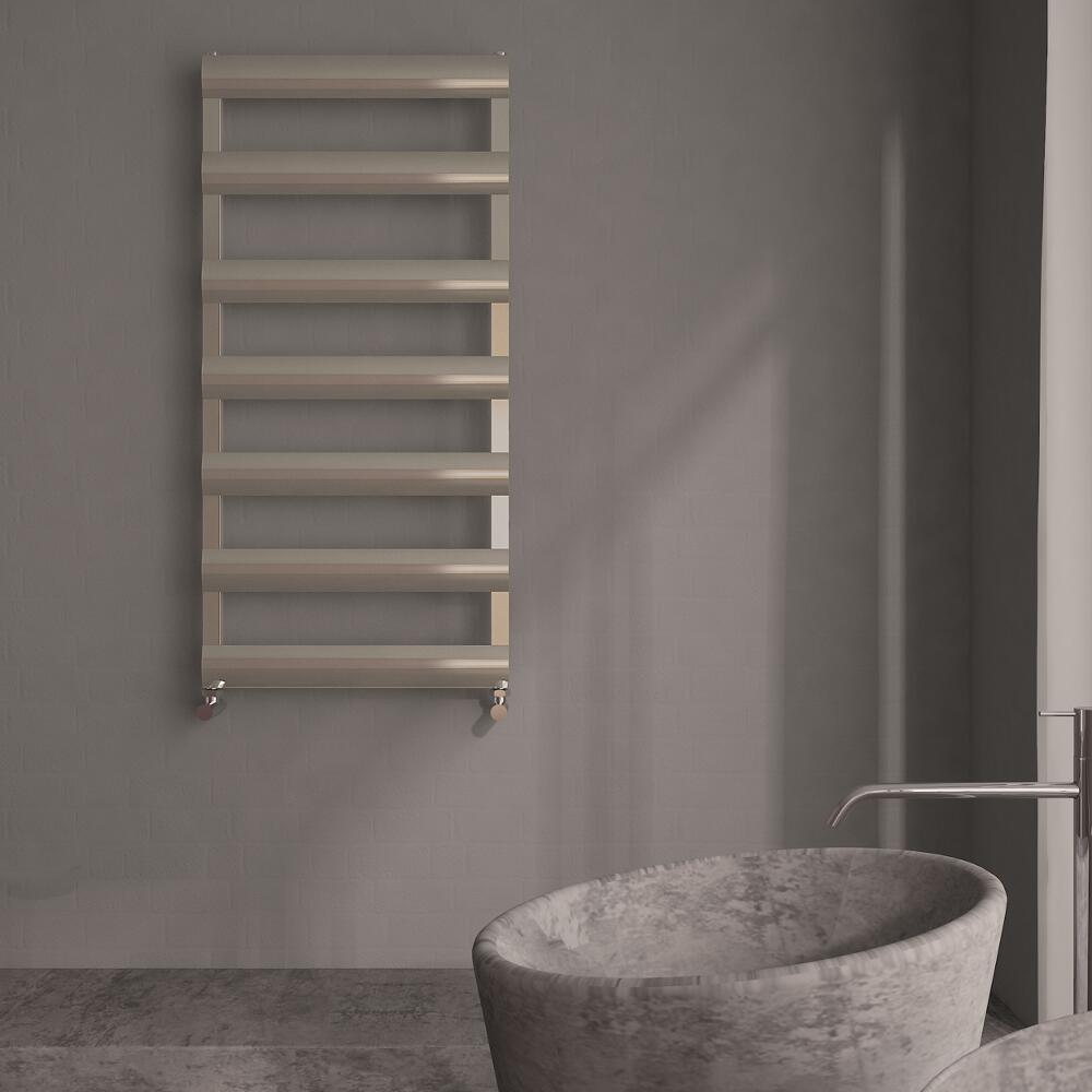 Milano Passo - Aluminium Designer Heated Towel Rail 1190 x 500mm Brushed Chrome
