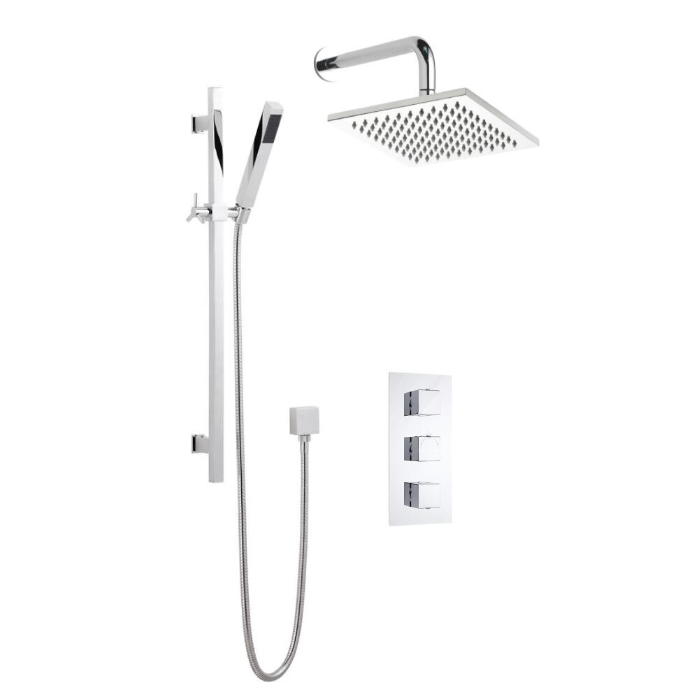Milano Square Triple Thermostatic Shower Valve With 200mm Shower Head, Wall Arm and Slide Rail